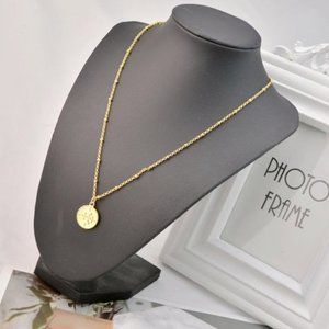 Tory Burch Vintage Gold Logo Disc Necklace